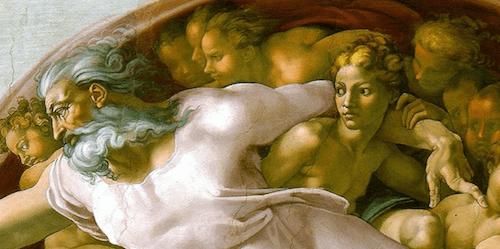 Die Jungfrau, linker Arm des Vaters