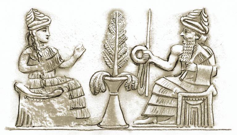 Sumer: Königspaar mit der Krone, Ring und Stab