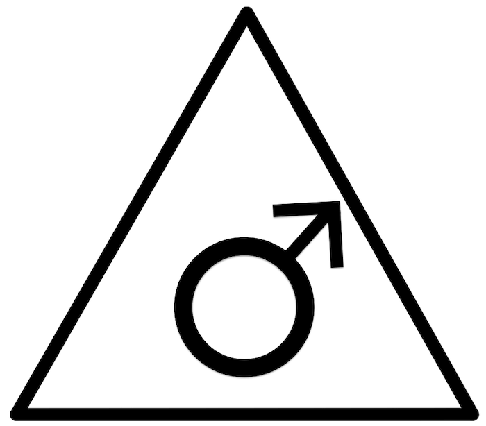 Das männliche Dreieck weist nach oben in den Geist