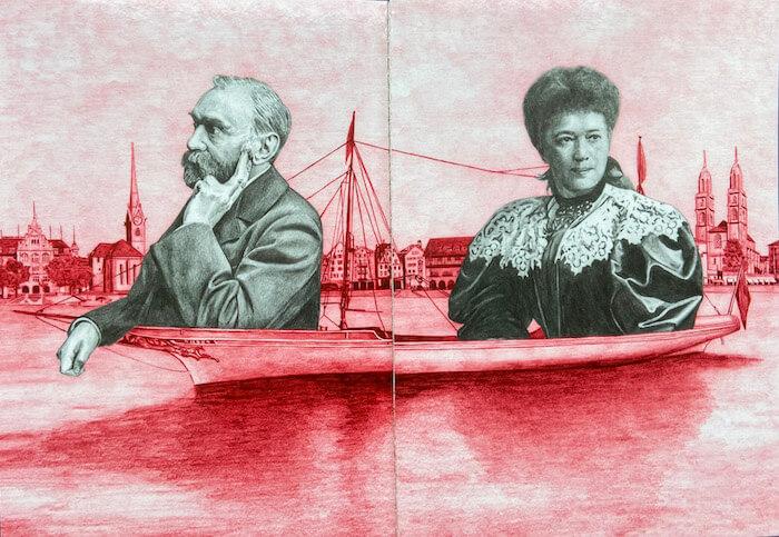 Alfred Nobel und Bertha von Suttner (Prospekt zu einer Ausstellung im Zürcher Stadthaus 2015)