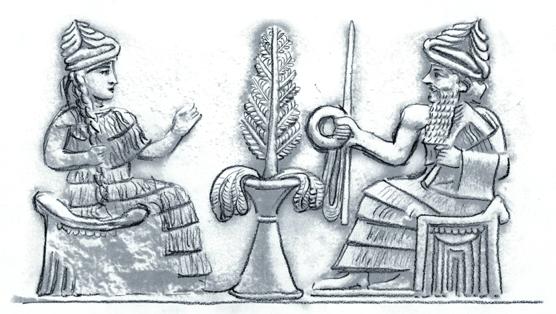 Sumer und Babylon; Königspaar mit Zweig