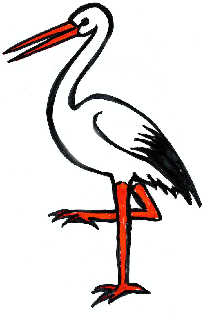 Storch, Weiss - Rot - Schwarz