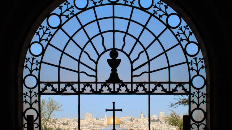 Blick vom Ölberg aus der Kirche Dominus Flevit