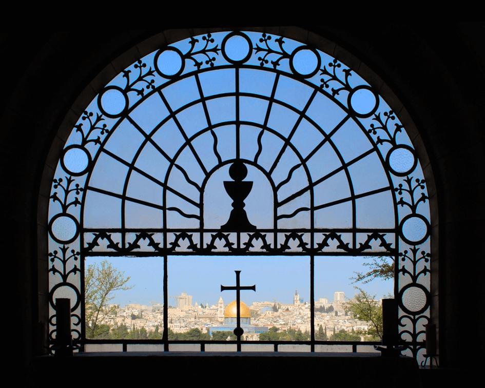 Blick vom Ölberg aus der Kirche Dominus