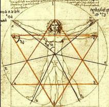 Der vitruvianische Menschlich im Hexagramm für Ganzheit